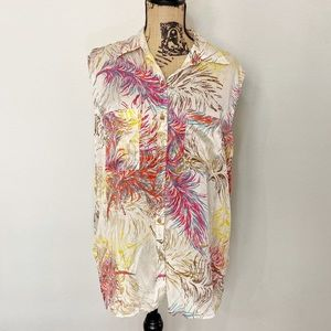 CABi Sleeveless Silk Feather Blouse
